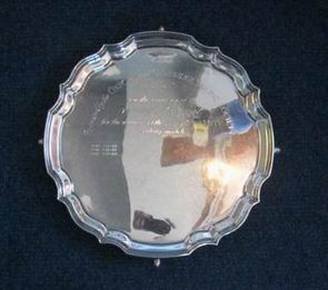 Photo of ladies varsity trophy - a silver salver - for varsity match history
