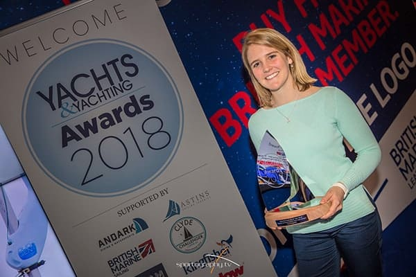 Photo of Fiona with her trophy for Amateur Sailor of year 2018